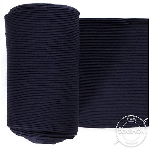 Tissu bord côte tubulaire - Marine X 50cm