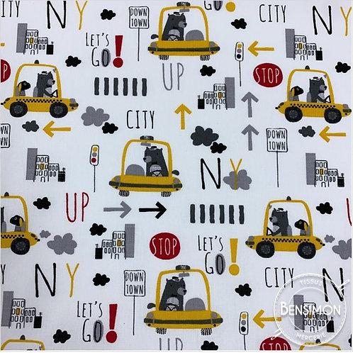 Tissu coton imprimés - Taxi NY City X 50cm