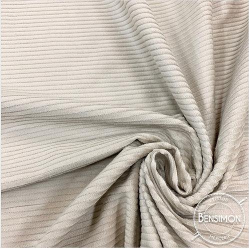 Tissu Velours côtelé 500 raies beige taupe