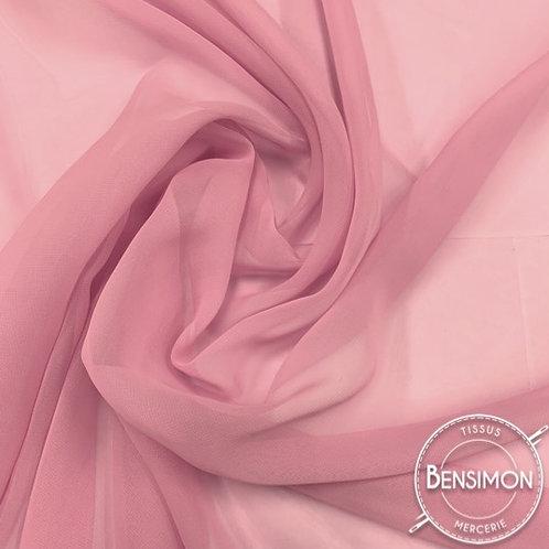 Tissu Mousseline - Vieux rose X 50cm