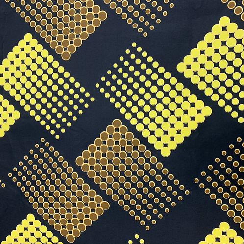 Tissu imprimé WAX - Motifs moutarde camel fond noir X 1M