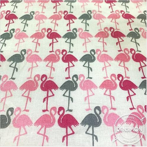 Tissu coton imprimés - Flamant roses X 50cm