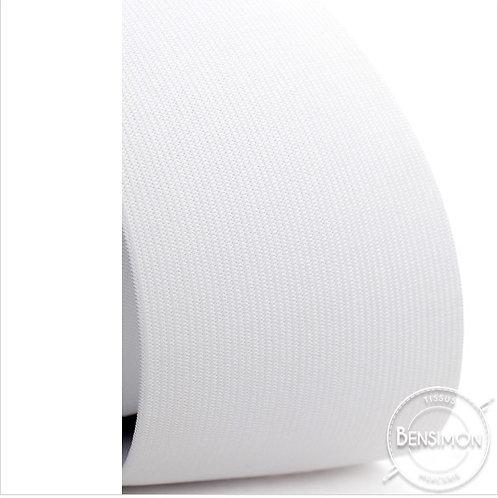 Élastique plat tissé 80mm - Blanc ou Noir