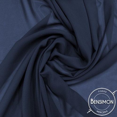 Tissu Mousseline - Bleu Marine X 50cm