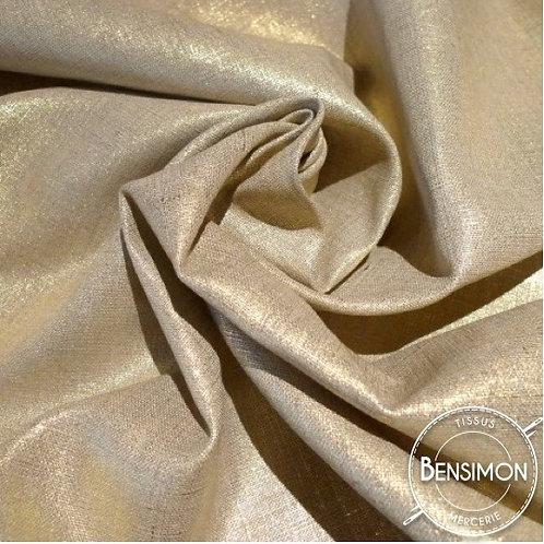 Tissu Lin enduit métallisé - Doré X 50cm