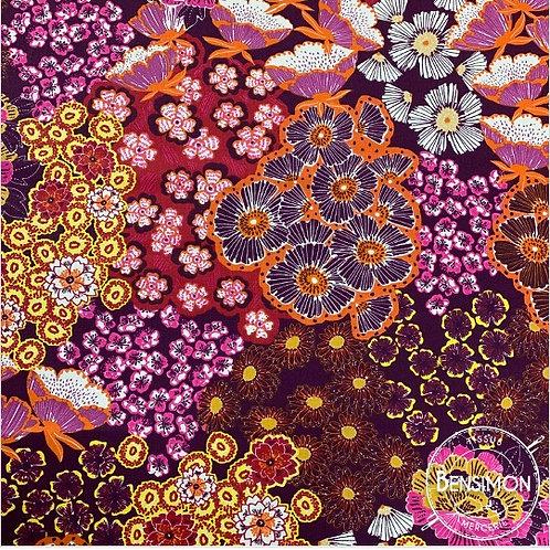 Tissu coton imprimés - Flowers Martine fuchsia X 50cm