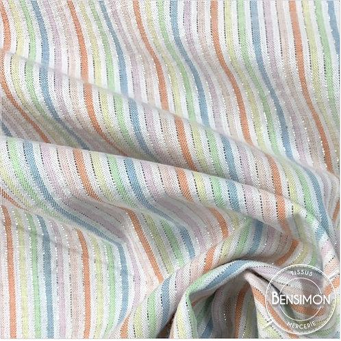 Tissu coton Seersucker Lurex - Multicouleur X 50cm