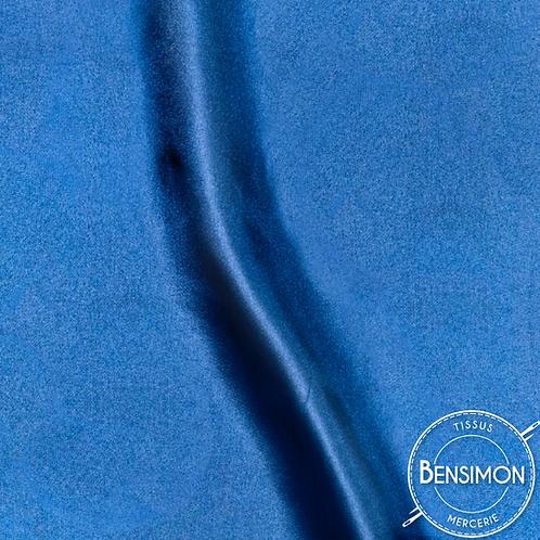 Tissu satin uni léger - Bleu Roy X 50cm