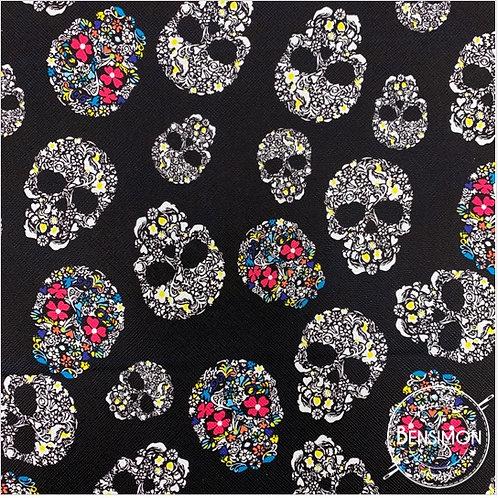 Tissu Simili Cuir Tête de mort - Noir X 50cm