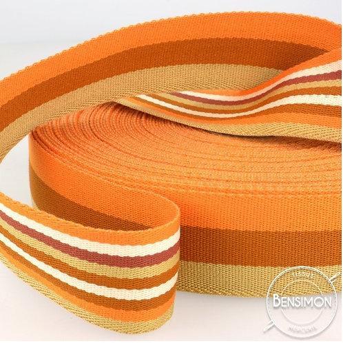 sangle rayures double face orange