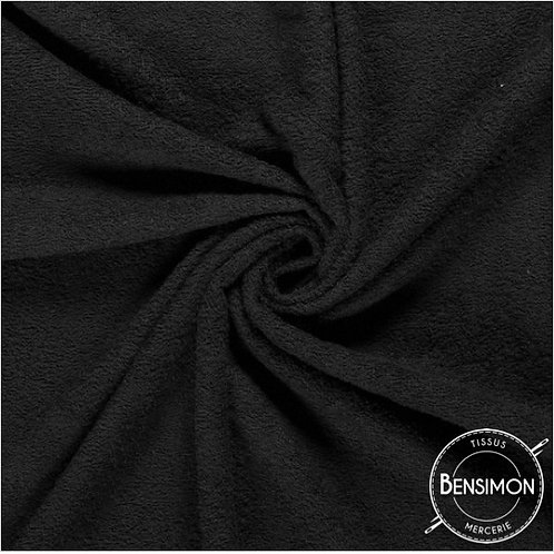 Tissu éponge coton OekoTex - Noir X 50cm
