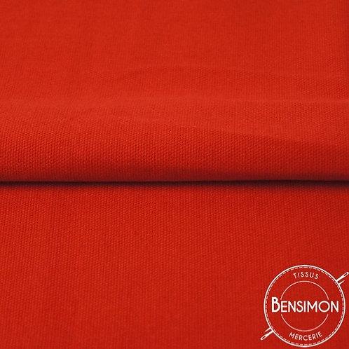 Tissu natté Gabardine Coton - Rouge X 50cm