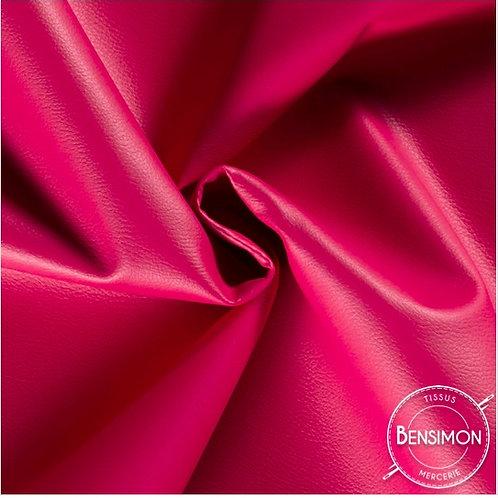 Tissu Simili Cuir Grainé - Fuchsia X 50cm