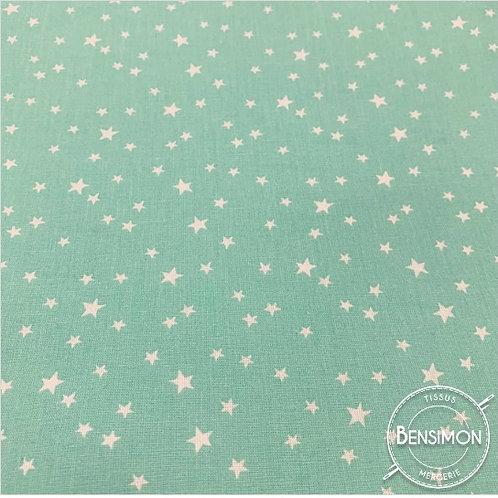 Tissu coton imprimés - Étoiles vert d'eau X 50cm