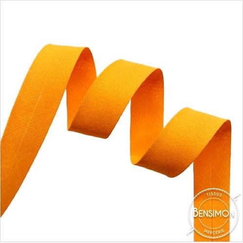 Biais coton replié 20mm - Orange fluo n°1302