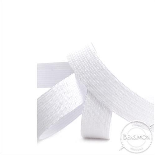 Élastique plat tissé 20mm - Blanc ou Noir