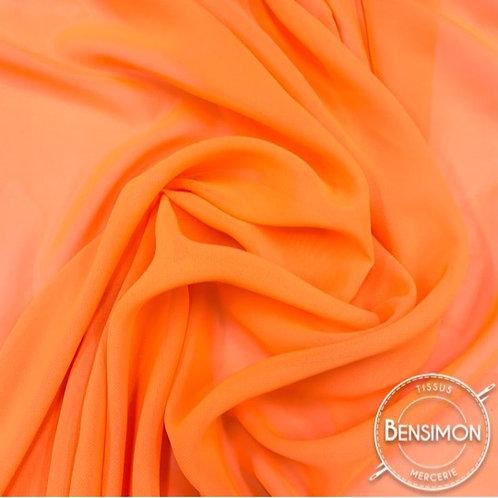 Tissu Mousseline - Orange fluo X 50cm