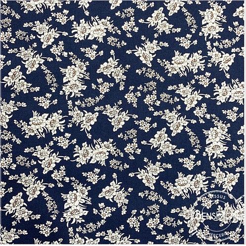 Tissu coton imprimés - Fleurs Eva marine X 50cm