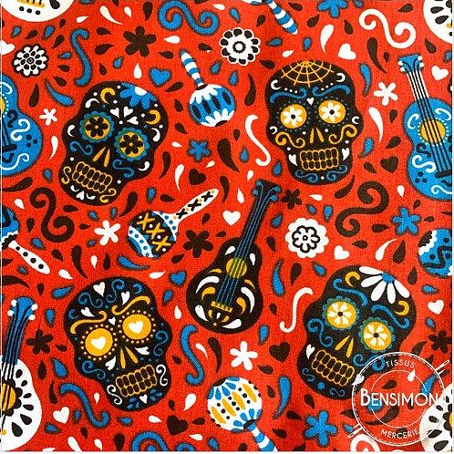Tissu coton imprimés - Calavera tête de mort - Rouge X 50cm