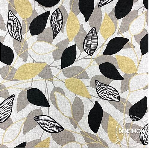 Tissu toile savoie 100% coton - Feuillages noir & lurex X 50cm