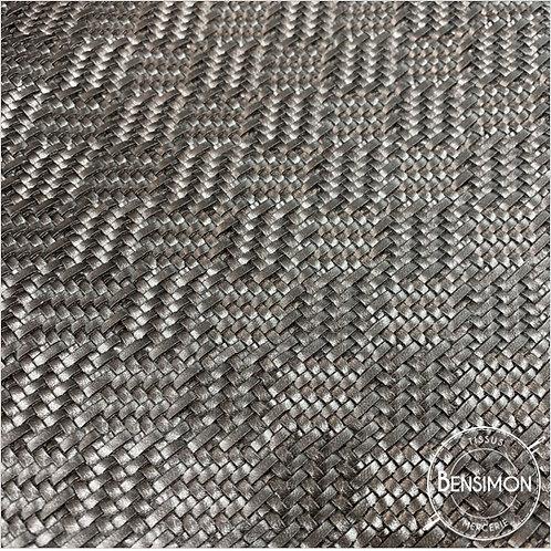 Tissu Simili Cuir Tressé 3D - Metal X 50cm