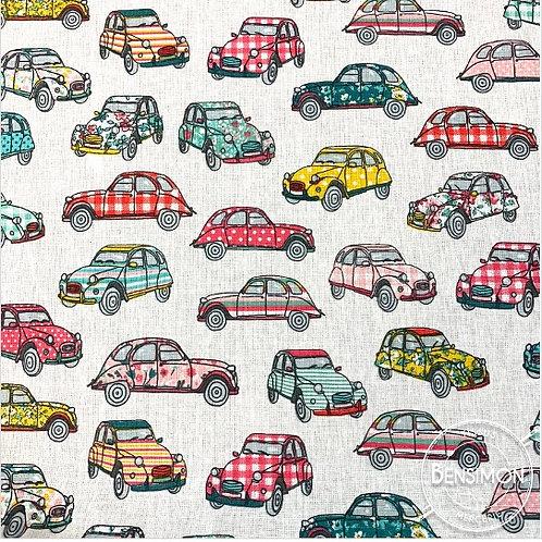 Tissu coton imprimés - Dedeuche voiture vintage X 50cm