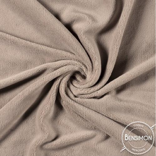 Tissu doudou pilou tout doux beige taupe