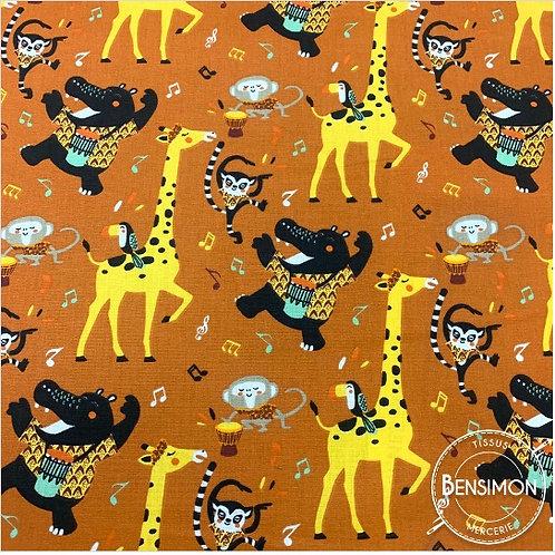 Tissu coton imprimés - Animaux Jazz terracotta X 50cm