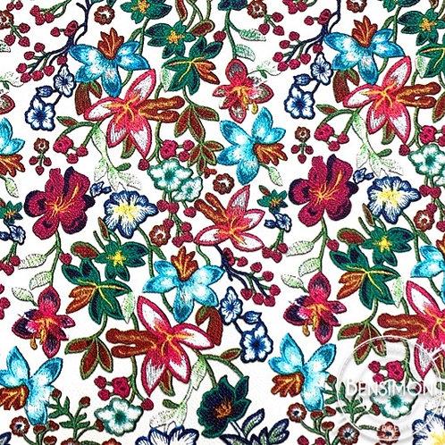 Simili cuir fleurs multicouleurs vintage