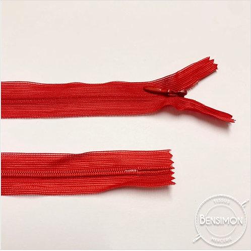 Fermeture invisible 4mm non séparable - Rouge