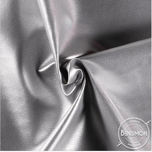 Tissu Simili Cuir Grainé - Argent X 50cm