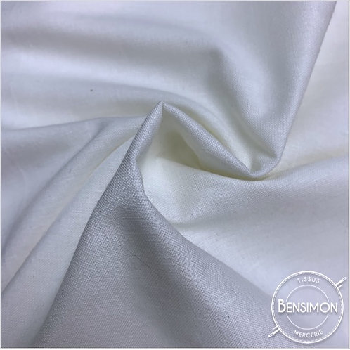 Tissu PolyCoton uni - Blanc X 1M