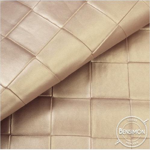 Tissu Simili Cuir Carreaux 3D - Beige nacré X 50cm