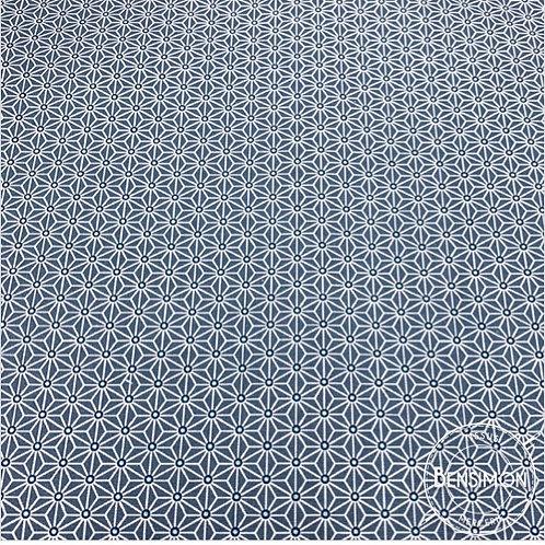 Tissu coton imprimés - Motifs japonais Saki bleu gris X 50cm