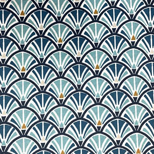 Tissu coton imprimés enduit - Eventail pétrole jacinthe X 50cm