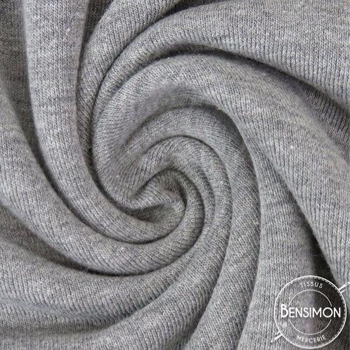 Tissu sweat molleton jogging coton oekotex gris chiné foncé