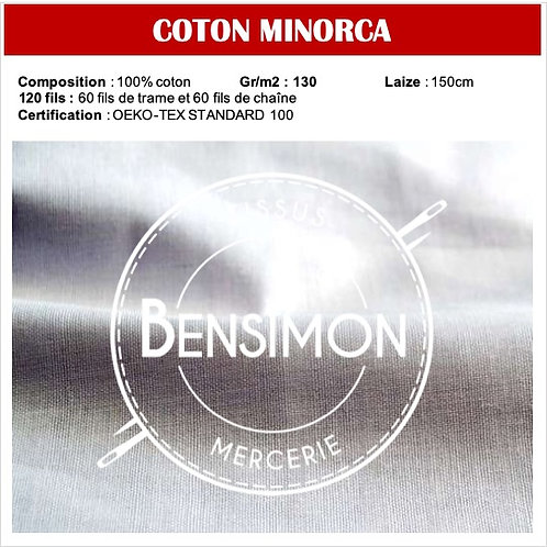 Tissu 100% Coton Minorca 120 fils X 1M