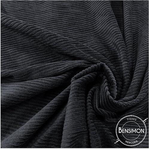 Tissu Velours côtelé 500 raies noir pas cher