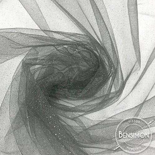 Tissu Tulle à paillettes - Argent X 1M