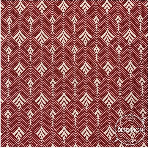 Tissu coton imprimés - Volodia rouge & beige X 50cm