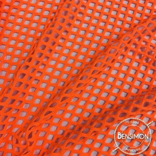 Tissu Résille élasthanne Dancing - Orange Fluo X 50cm