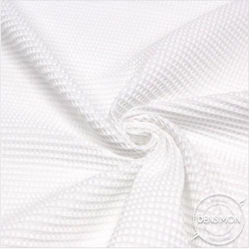 Tissu éponge nid abeille OekoTex - Blanc X 50cm