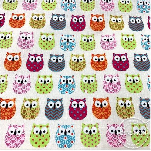 Tissu coton imprimés - Mini hiboux multi couleurs X 50cm
