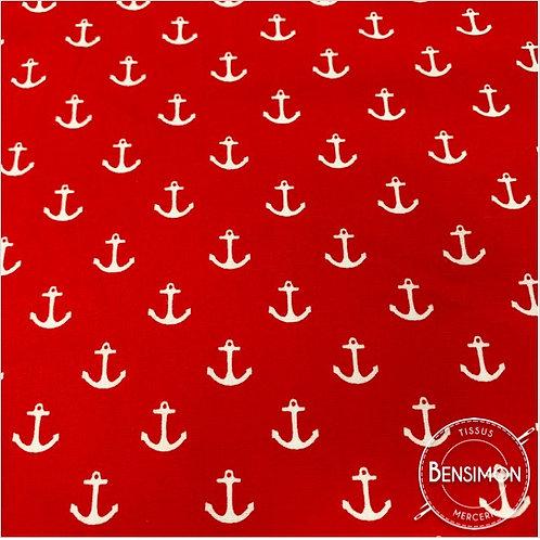 Tissu coton imprimés - Ancres rouge X 50cm