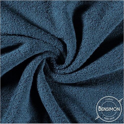 Tissu éponge coton OekoTex - Bleu canard X 50cm