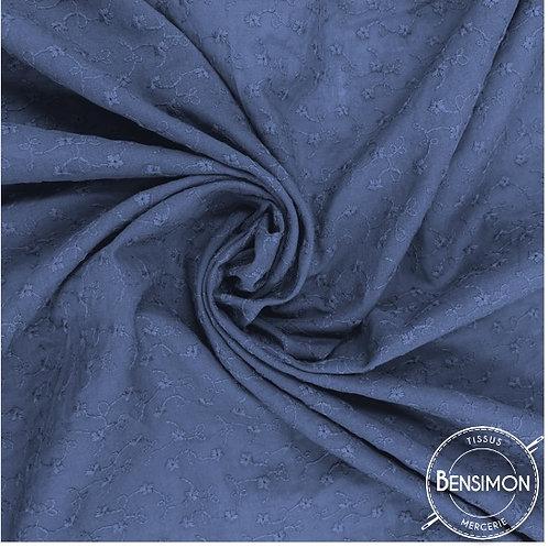 Tissu broderie anglaise coton - Bleu marine X 50cm