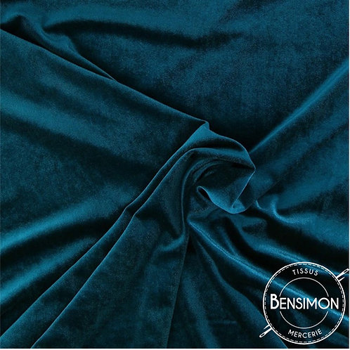 Tissu Velours - Bleu Canard X 50cm