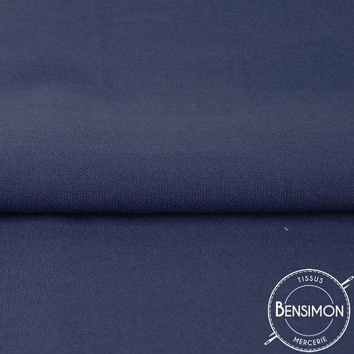 Tissu natté Gabardine Coton - Bleu Marine X 50cm
