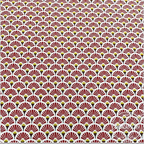 Tissu coton imprimés - Eventails rouge X 50cm