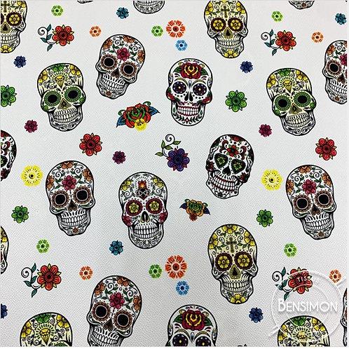 Tissu Simili Cuir Tête de mort - Blanc X 50cm